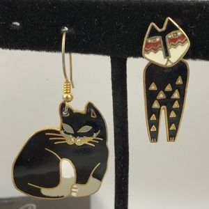 Vintage Laurel Burch mixed Cats Enamel Earrings